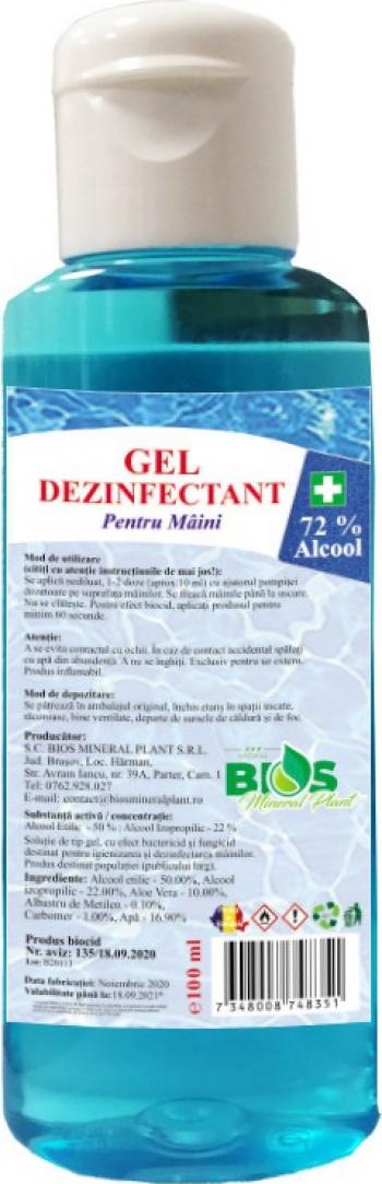 Gel Dezinfectant pentru maini cu Aloe Vera si 72 Alcool produs Avizat 100 ml Gel antibacterian