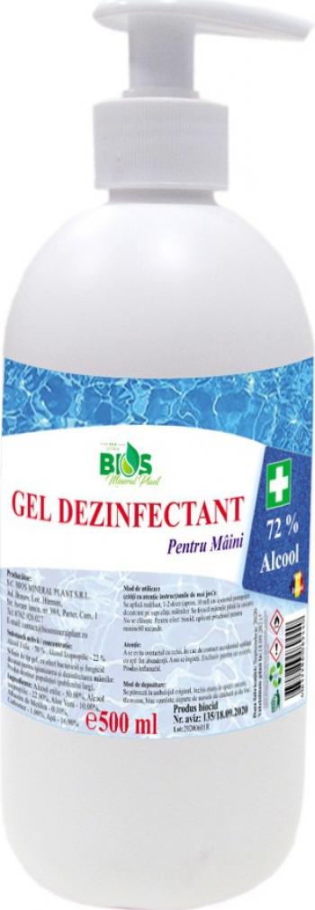 Gel Dezinfectant pentru maini cu Aloe Vera si 72 Alcool produs Avizat 500 ml Gel antibacterian