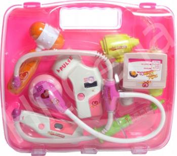 Trusa medicala roz cu valiza Malplay 103060