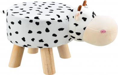 Scaun taburet pentru copii Pingo model Vaca 45 x 28 x 48 cm 150 Kg lemn/flanel alb/negru Birouri copii