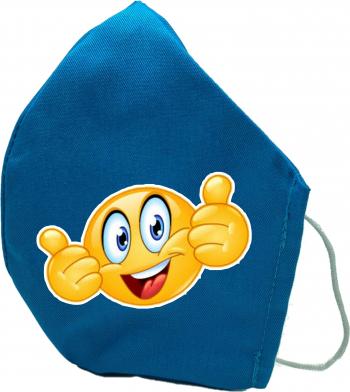 Masca de protectie din material textil de calitate superioara 2 straturi turcoaz Reutilizabila Emoji 2 OK Masti chirurgicale si reutilizabile