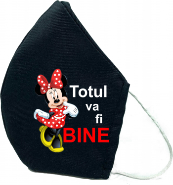 Masca de protectie din material textil de calitate superioara 2 straturi Fashion neagra Reutilizabila Tema Minnie Mouse totul va fi bine Masti chirurgicale si reutilizabile