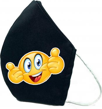 Masca de protectie din material textil de calitate superioara 2 straturi neagra Reutilizabila Tema Emoji 2 ok Masti chirurgicale si reutilizabile
