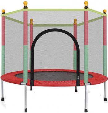 Trambulina pentru copii de interior/exterior 138x120 cu plasa protectie multicolora