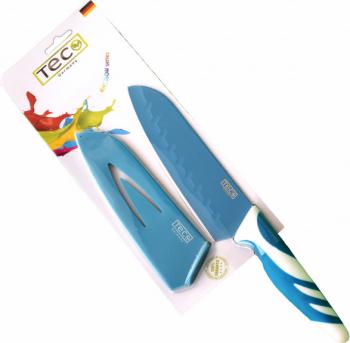 Cutit de bucatarie Santoku cu protectie lama maner antiaderent TEC Germany albastru Accesorii bucatarie