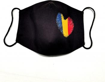 Masca protectie reutilizabila din bumbac cu imprimeu inimioara tricolor 2 straturi ACD514 - 23h Events Masti chirurgicale si reutilizabile