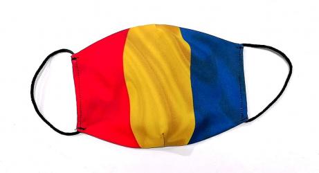Masca protectie tricolor reutilizabila din bumbac cu imprimeu Drapelul Romaniei 2 straturi ACD513 - 23h Events Masti chirurgicale si reutilizabile