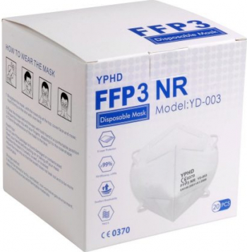 Set masti YPHD protectie FFP3/KN99 CE ambalate individual in cutie cu 20 buc. Masti chirurgicale si reutilizabile