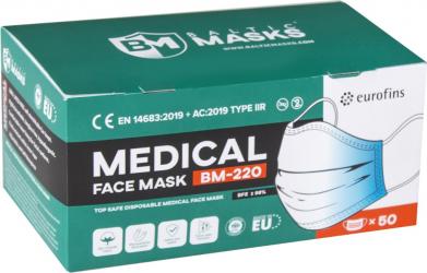 Cutie 50 masti de protectie faciala medicale - Baltic Masks BM-220 Type IIR CE Masti chirurgicale si reutilizabile