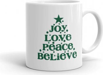 Cana personalizata Joy Love Peace Believe Cadouri
