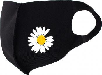 Masca de protectie dama cu floare reutilizabila din poliester NegruAlb Masti chirurgicale si reutilizabile