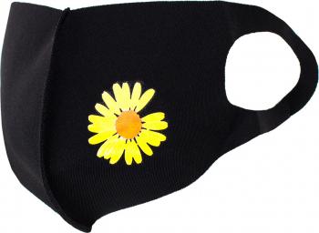 Masca de protectie dama cu floare reutilizabila din poliester NegruGalben Masti chirurgicale si reutilizabile