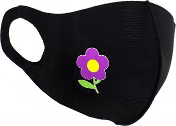 Masca de protectie dama cu floare reutilizabila din poliester NegruMov Masti chirurgicale si reutilizabile