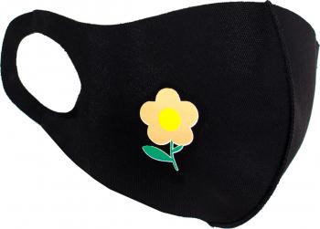 Masca de protectie dama cu floare reutilizabila din poliester NegruPortocaliu Masti chirurgicale si reutilizabile