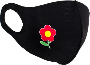 Masca de protectie dama cu floare reutilizabila din poliester NegruRosu Masti chirurgicale si reutilizabile