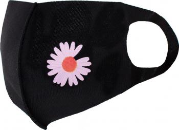 Masca de protectie dama cu floare reutilizabila din poliester NegruRoz Masti chirurgicale si reutilizabile