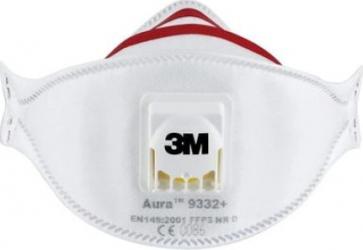 Set 10 buc de masca respiratorie cu supapa 3M Aura 9332+ Cool Flow