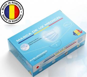 Masca faciala de uz medical Set de 50 buc 3 straturi 3 pliuri albastra AVEUROMED Masti chirurgicale si reutilizabile
