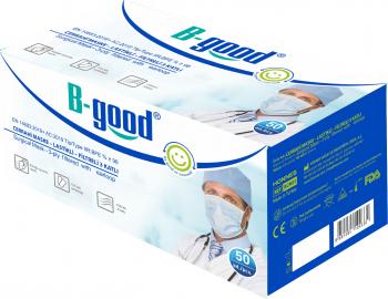 Set 50 bucati Masti medicale chirurgicale faciale B-good ambalate individual cu 3 straturi si 3 pliuri tip IIR albastru