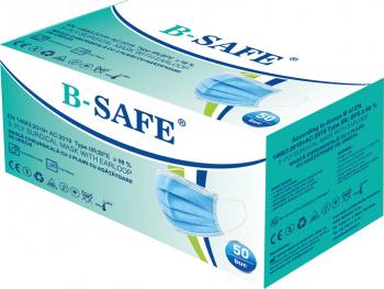 Set 50 bucati Masti medicale chirurgicale faciale B-SAFE de protectie de unica folosinta cu 3 straturi si 3 pliuri tip IIR albastru Masti chirurgicale si reutilizabile