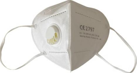 Masca de protectie adulti cu 5 straturi KN95 si supapa de expirare fara uz medical Alba Masti chirurgicale si reutilizabile