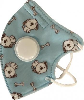 Masca faciala pentru copii cu supapa de expirare Blue dogs polipropilena 5 straturi Masti chirurgicale si reutilizabile