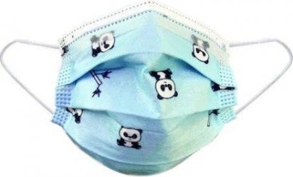 Set 50 Masti Copii de Unica Folosinta 3 pliuri 3 straturi cu Clema fixare nas model Albastru Masti chirurgicale si reutilizabile