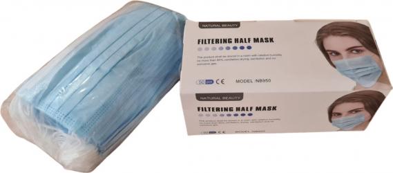 Cutie 50 bucati Masti Faciale de protectie de unica folosinta 3 Straturi 3 pliuri Albastre Masti chirurgicale si reutilizabile