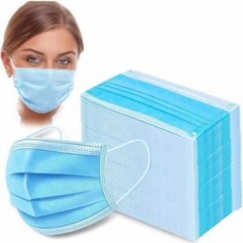 Set de 50 Masti de protectie faciala de unica folosinta cu 3 pliuri si 3 straturi si punte metalica Albastre Masti chirurgicale si reutilizabile
