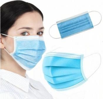Set de 50 Masti de unica folosinta cu punte metalica cu 3 pliuri si 3 straturi Albastru Masti chirurgicale si reutilizabile