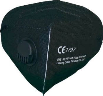 Masca de protectie adulti cu 5 straturi KN95 si supapa de expirare fara uz medical Neagra Masti chirurgicale si reutilizabile