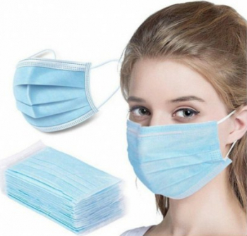 Set 50 masti de unica folosinta pentru adulti 3 straturi si 3 pliuri Albastru Masti chirurgicale si reutilizabile