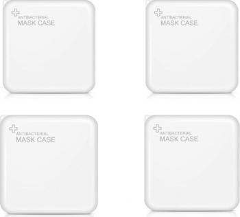 Set 4 Bucati Cutii Portabile Pentru Depozitare Si Protectie Masca EX-2 Kn95 Alb Masti chirurgicale si reutilizabile