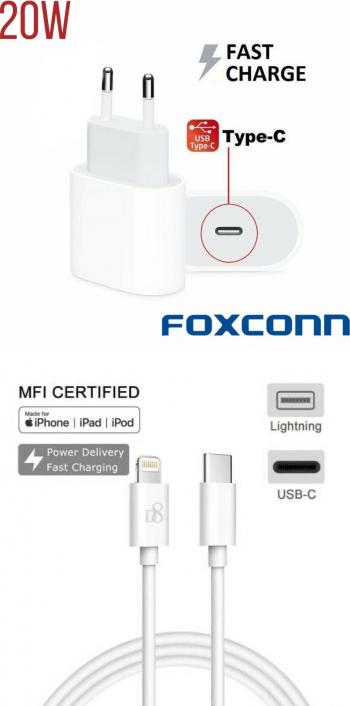 Set Incarcator Fast Charge Foxconn 20W pentru iPhone 12pro 12 Pro Max12mini si cablu de date 1m Type-C-Lightning BULK Incarcatoare Telefoane