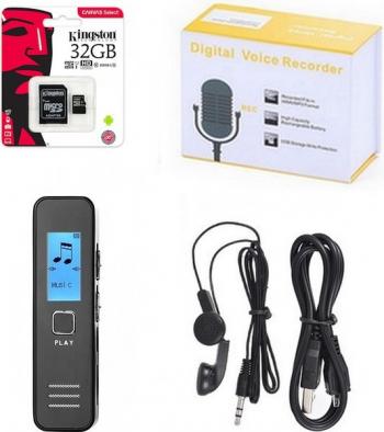 Reportofon Dictafon Digital Functie MP3 - Inregistrare 200 Ore Kingston Micro SD 32Gb - 354 Telefoane