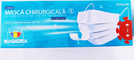 Set 50 Masti Medicale tip II 3 pliuri 3 straturi Avizate Masti chirurgicale si reutilizabile