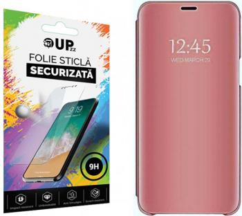 Husa Tip Carte Mirror Samsung Galaxy A21s Roz Cu Folie Sticla Upzz Glass Inclusa In Pachet Huse Telefoane