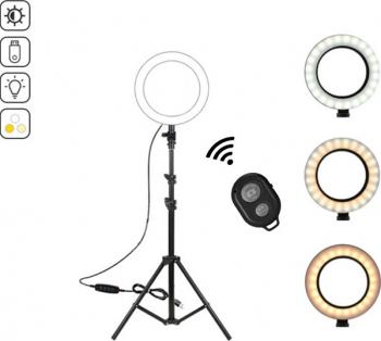 Lampa circulara Ring Light diametru 15cm/6inch 3 moduri de lumina 10 trepte reglaj telecomanda selfie trepied 210cm inclus