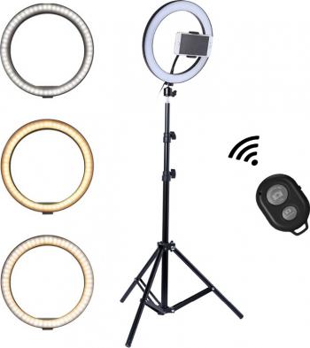 Lampa circulara Ring Light diametru 45cm/18inch 3 moduri de lumina 10 trepte reglaj telecomanda selfie trepied 210cm inclus