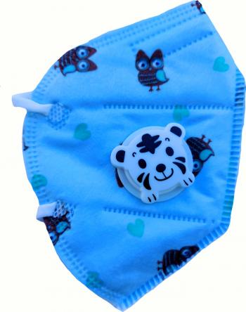 Masca protectie pentru copii cu supapa de expirare ambalata individual Albastru Masti chirurgicale si reutilizabile