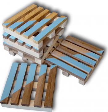 Set suport pahare lemn palet 6 bucati Articole pentru servit