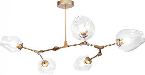 Candelabru Globe Branching Bubble Pendul Lumina Led 5 Globuri Deco 110v 220v Golden