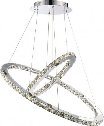 Candelabru Pendul Lumina Led Oval Pandantiv de cristal din sticla cu doua inele 40 + 60cm TotulPerfect