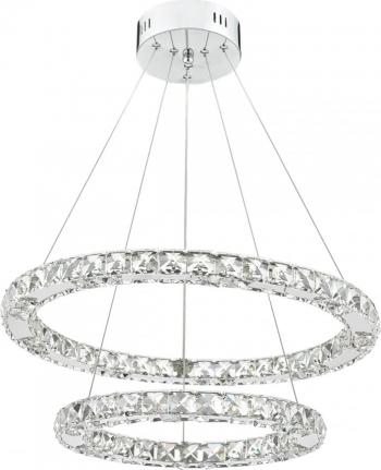 Candelabru Pendul Lumina Led Rotund Pandantiv de cristal din sticla cu doua inele 40 + 60cm TotulPerfect