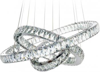 Candelabru Pendul Lumina Led Rotund Pandantiv de cristal din sticla cu trei inele 80 + 60 + 40cm