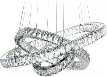 Candelabru TotulPerfect Cristale K9 Pendul Lumina Led Patat Pandantiv de cristal din sticla cu trei inele 60+40+20cm