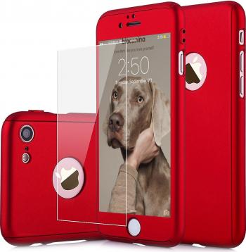 Husa Carcasa telefon Iphone 6/6S Plus Protejeaza 360 and deg Ultrasubtire + Folie Sticla - Red