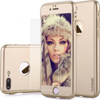 Husa carcasa telefon Iphone 8 Plus 360 and deg Ultra Subtire si Folie Sticla - Gold Matte