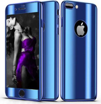 Husa telefon Apple Iphone 6 Plus /6S Plus ofera protectie Completa 360 Ultrasubtire Blue Mirror + Folie Sticla