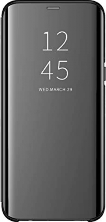 Husa Tip Carte Mirror Samsung Galaxy A10 Negru - Cu Folie Sticla Marca Upzz Inclusa
